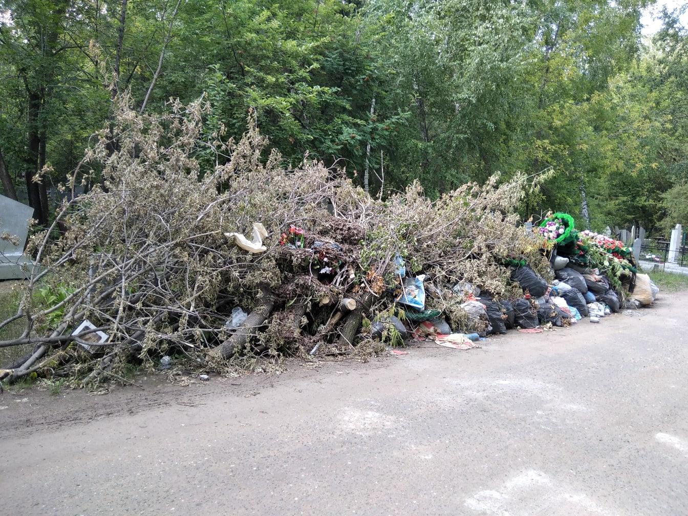 Омских бюджетников отправили искать стихийную свалку на кладбище #Омск #Общество #Сегодня