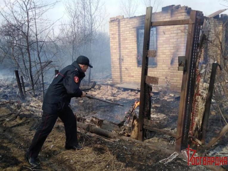 Тушить горящие дачи в Омске пришлось даже росгвардейцам #Новости #Общество #Омск